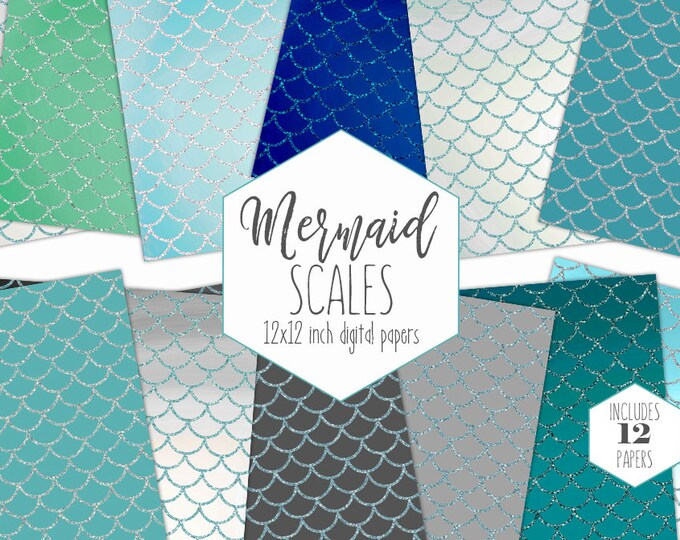 GLITTER MERMAID SCALES Digital Paper Pack ocean Blue Backgrounds Teal Scrapbook Papers Birthday invitation Patterns Party Printable Clipart