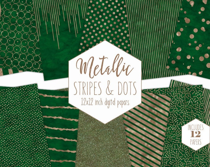 GREEN & ROSE GOLD Digital Paper Pack Stripe Backgrounds Metallic Foil Confetti Wedding Scrapbook Paper Polka Dot Emerald Christmas Clipart