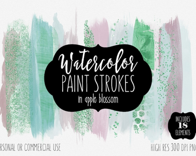 MODERN WATERCOLOR BRUSH Strokes Clipart Commercial Use Clip Art Watercolor Paint Strokes Blush Pink Mint & Kelly Green Confetti Logo Graphic