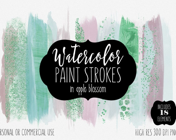 MODERN WATERCOLOR BRUSH Strokes Clipart Commercial Use Clip Art Watercolor Paint Strokes Blush Pink Mint & Kelly Green Confetti Logo Graphic