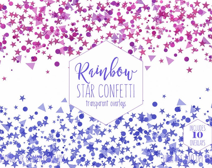 STAR CONFETTI OVERLAY Clipart for Commercial Use Invitation Clip Art Purple & Blue Confetti Borders Kids Birthday Party Digital Graphics