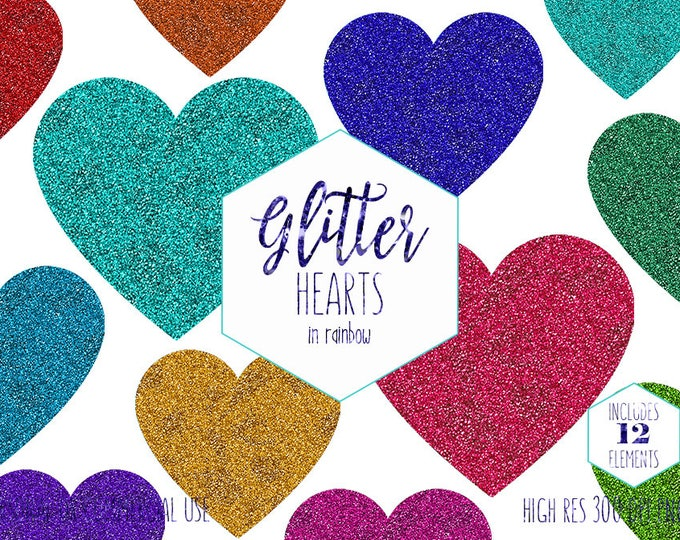 RAINBOW HEART CLIPART for Commercial Use Clip Art Metallic Glitter Hearts Valentine's Day Love Cute Planner Sticker Clipart Digital Graphics