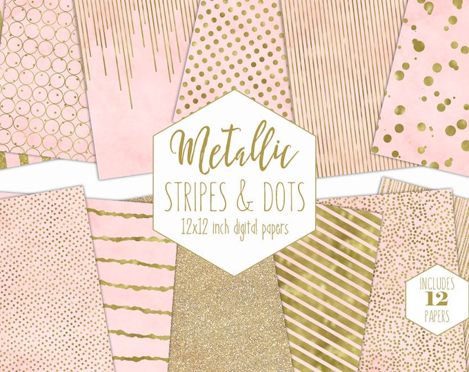 BLUSH & GOLD FOIL Digital Paper Pack Pink Stripe Backgrounds Metallic Confetti Scrapbook Paper Polka Dot Wedding Patterns Party Printable