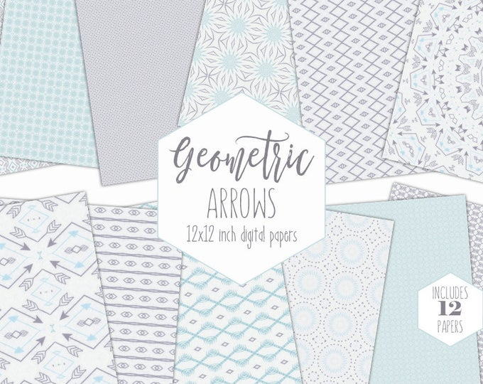 PALE BLUE & GRAY Digital Paper Pack Arrow Backgrounds Tribal Scrapbook Papers Baby Boy Patterns Commercial Use Baby Shower Nursery Clipart