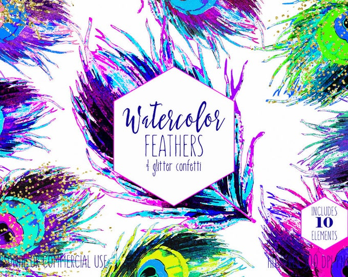 WATERCOLOR PEACOCK FEATHER Clipart Commercial Use Clip Art Teal Purple Pink & Blue Boho Feathers Metallic Gold Confetti Rainbow Graphics
