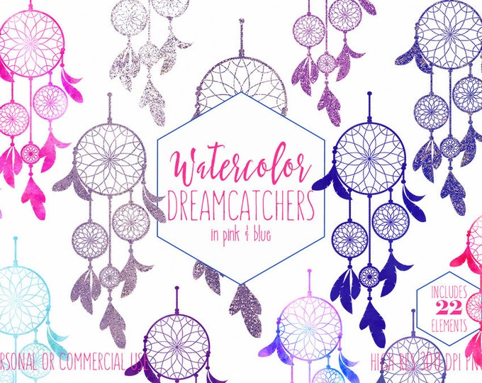 WATERCOLOR DREAM CATCHER Clipart Commercial Use Clip Art Metallic Glitter Confetti Blue Pink Purple Bohemian Tribal Dreamcatcher Graphics