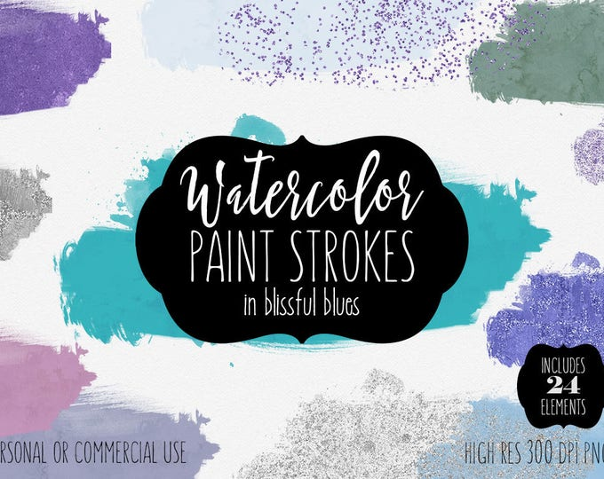 BLUE WATERCOLOR BRUSH Strokes Clipart Commercial Use Clip Art 24 Watercolor Paint Strokes Splash Silver Aqua Confetti Textures Logo Graphics