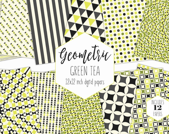 CITRON LIME & GRAY Digital Paper Pack Geometric Mandala Backgrounds Triangle Scrapbook Papers Stripe Patterns Party Printable Commercial Use
