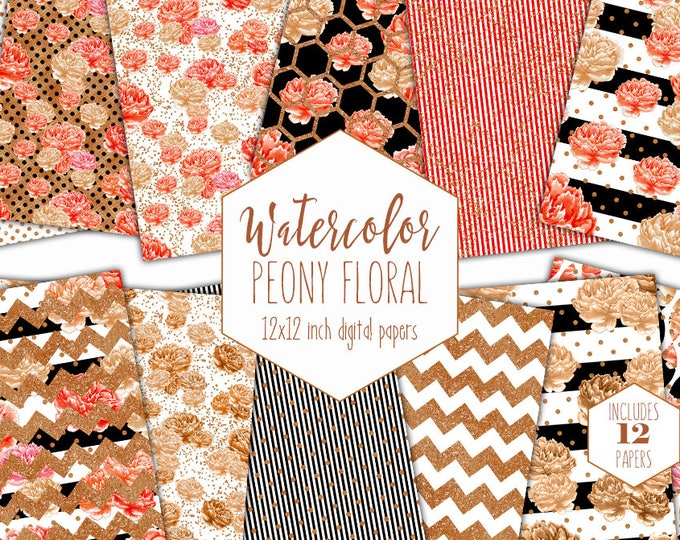 COPPER WATERCOLOR FLORAL Digital Paper Pack Commercial Use Backgrounds Scrapbook Papers Coral Rust Chic Chevron Stripes Dots Metallic Paper