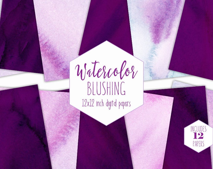 PURPLE WATERCOLOR WASH Digital Paper Pack Commercial Use Violet Backgrounds Blush Pink Wedding Scrapbook Papers Real Watercolour Textures