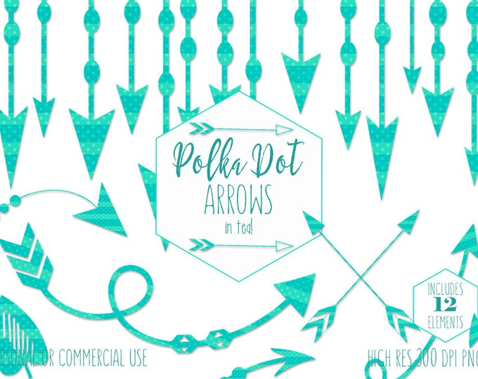 AQUA ARROW CLIPART for Commercial Use Planner Clip Art Tribal Arrow Border Garland Frames Banner Teal Polka Dot Boho Chic Digital Graphics