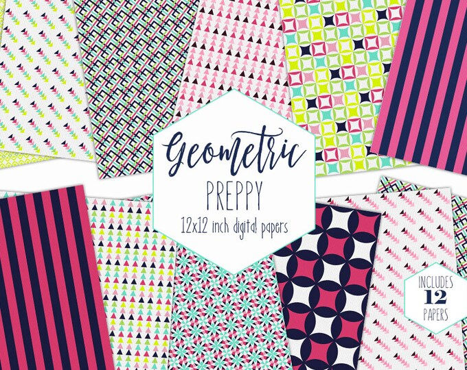 NAVY BLUE & PINK Digital Paper Pack Triangle Backgrounds Arrow Scrapbook Papers Geometric Patterns Birthday Party Printable Girls Clipart