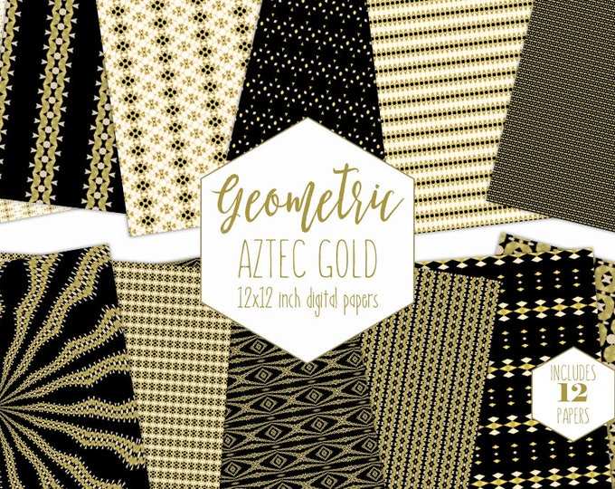 BLACK & METALLIC GOLD Digital Paper Pack Geometric Backgrounds Aztec Tribal Scrapbook Papers Patterns Party Printable Commercial Use Clipart