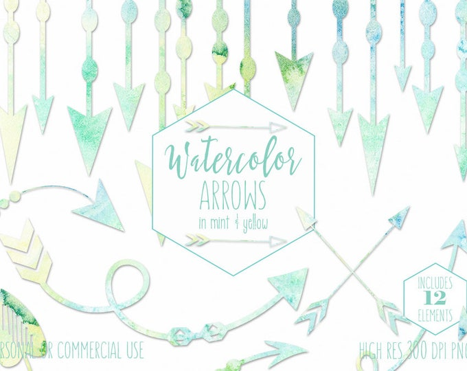 MINT WATERCOLOR ARROW Clipart Commercial Use Clip Art Arrow Graphics Watercolour Arrow Border Garland Frames Banner Pastel Baby Clip Art