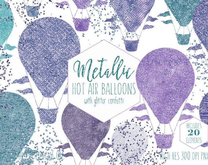 TEAL & PURPLE Hot Air Balloon Clipart for Commercial Use Clip Art Metallic Kids Balloon Images Blue Confetti Baby Shower Digital Graphics