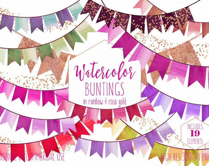RAINBOW BUNTING FLAGS Clipart Commercial Use Clip Art Watercolor Bunting Banners & Rose Gold Confetti Birthday Party Invitation Graphics