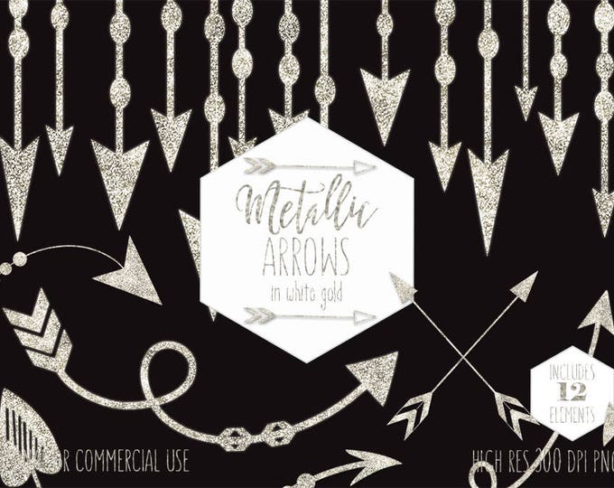 WHITE GOLD ARROW Clipart Commercial Use Planner Clip Art Metallic Glitter Boho Arrows Tribal Wedding Border Bohemian Glam Digital Graphics