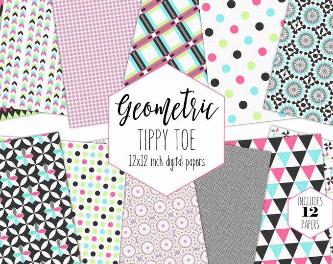 AQUA GRAY & PINK Digital Paper Pack Little Girl Backgrounds Triangle Dot Scrapbook Paper Geometric Patterns Birthday Party Printable Clipart