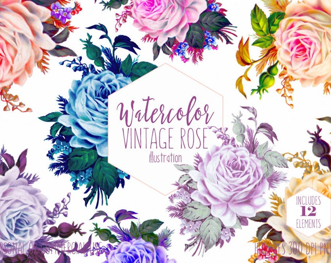 VINTAGE ROSE Clipart Commercial Use Clip Art Watercolor Floral Roses Clipart Pink Peach Purple Blue Vintage Antique Flowers Wedding Graphics