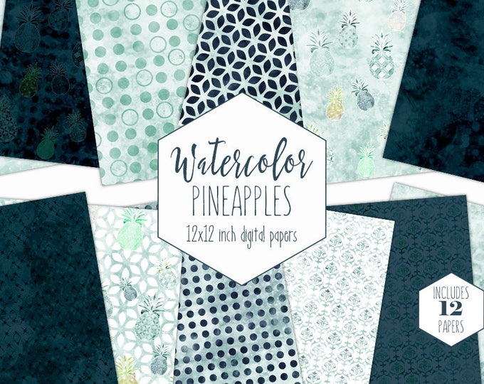 NAVY BLUE PINEAPPLE Digital Paper Pack Commercial Use Teal Backgrounds Geometric Clipart Scrapbook Papers Tropical Beach Watercolor Patterns