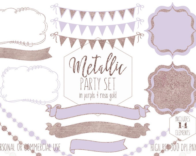 LAVENDER & ROSE GOLD Party Clipart for Commercial Use Clip Art Bunting Banners Frames Fairy Lights Birthday Wedding Planner Digital Graphics