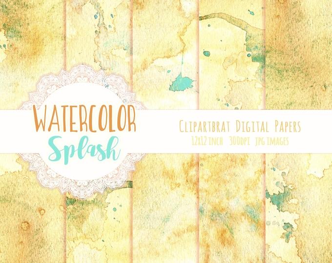 YELLOW WATERCOLOR Splash Digital Paper Commercial Use Paper Pack Yellow & Aqua Watercolor Splatter Texture Hand-Painted Watercolour Paper