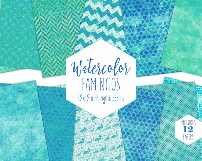 OCEAN BLUE FLAMINGO Digital Paper Pack Commercial Use Backgrounds Watercolor Scrapbook Papers Tropical Beach Teal Aqua Watercolour Textures