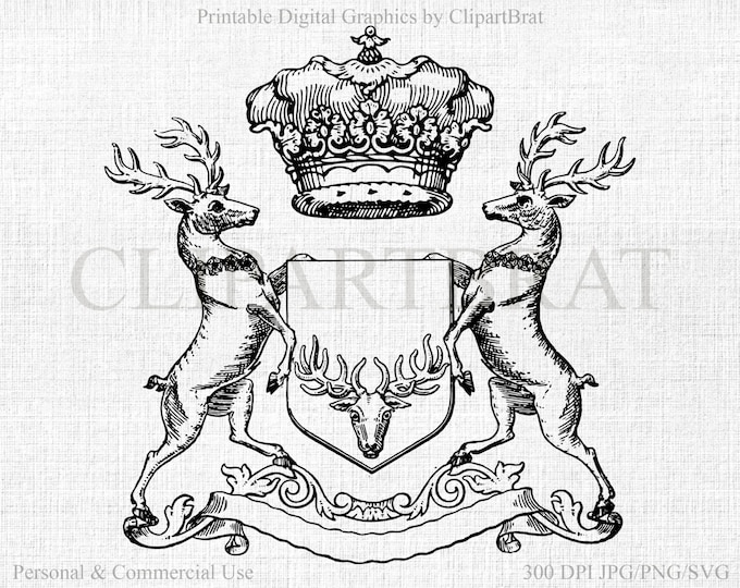CROWN & DEER Clipart Commercial Use Clipart Antique Deer Digital Stamp Deer Royal Family Crest  Deer Coat of Arms Vector Graphic Jpg/Png/Svg