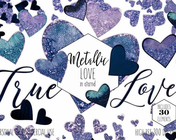 METALLIC GLITTER HEARTS Clipart Commercial Use Clip Art True Love Navy Blue Teal & Purple Glam Heart Confetti Wedding Invitation Graphics