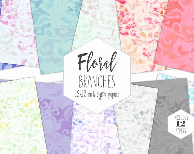 PASTEL SPRING FLORAL Digital Paper Pack Flower Branches & Vine Backgrounds Rainbow Scrapbook Papers Garden Patterns Party Printable Clipart