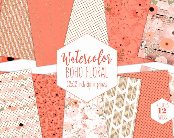 PEACH WATERCOLOR FLORAL Digital Paper Pack Commercial Use Boho Chic Backgrounds Metallic Gold Wedding Scrapbook Paper Bohemian Wood Patterns