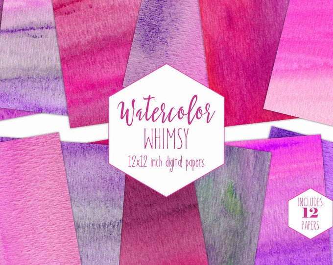PURPLE & PINK WATERCOLOR Digital Paper Pack Commercial Use Girly Backgrounds Birthday Scrapbook Paper Watercolour Wash Textures Girl Clipart