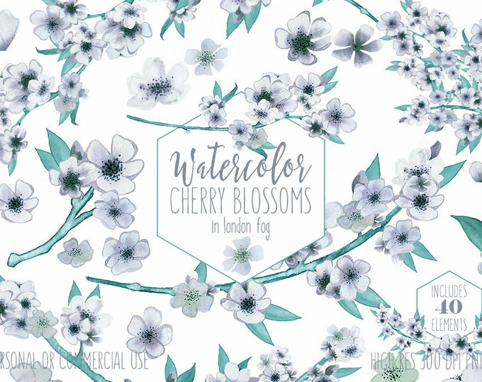 MINT WATERCOLOR FLORAL Clipart Commercial Use Clip Art Wedding Cherry Blossoms Sakura Branches Flower Bouquets Pretty Floral Wreath Graphics