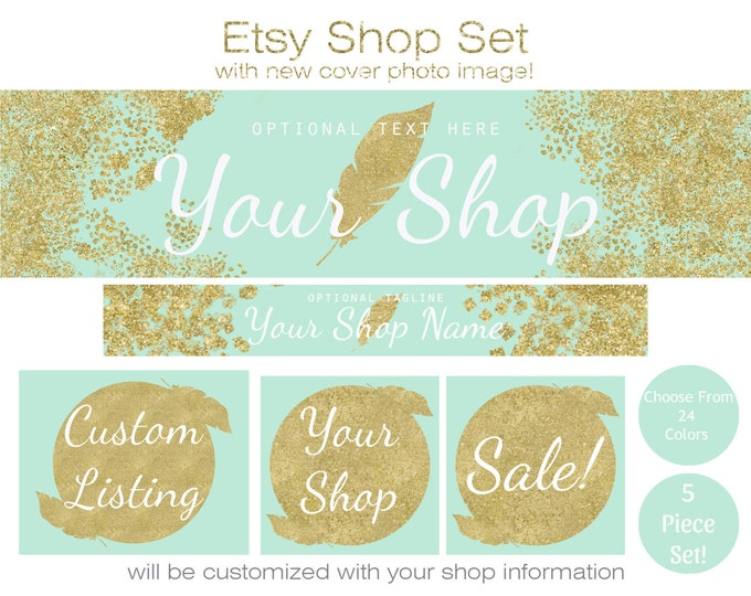 MINT & GOLD Etsy Shop Set- Choose Your Font- Cover Photo Banner Icon Gold Glitter Confetti Feather Modern Business Branding Customized Shop