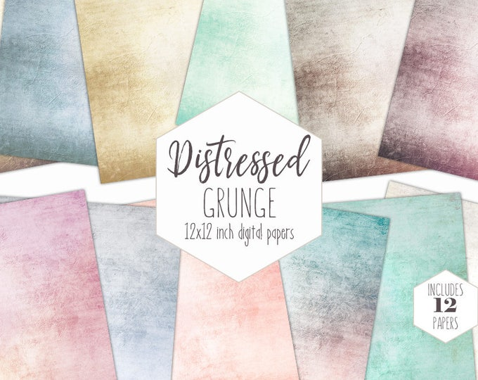 ANTIQUE GRUNGE Digital Paper Pack Commercial Use Vintage Style Backgrounds Romantic Victorian Distressed Scrapbook Paper Wedding Textures