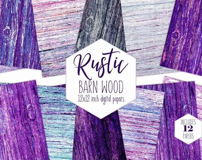 RUSTIC WOOD Digital Paper Pack Purple Backgrounds Tree Bark Scrapbook Painted Wood Papers Wood Backdrop Textures Printable Images Clipart