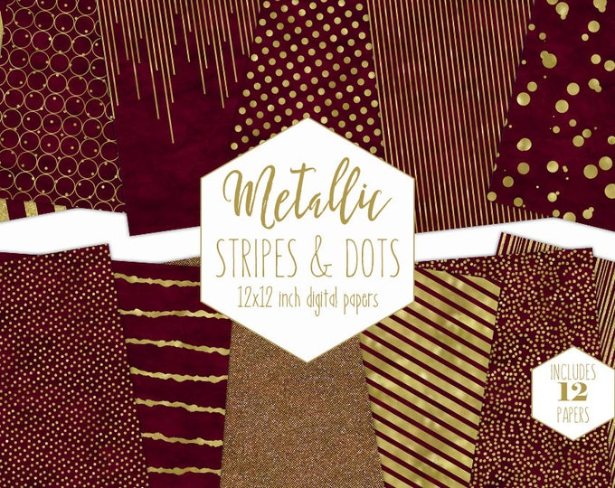 BURGUNDY & GOLD FOIL Digital Paper Pack Stripe Backgrounds Metallic Confetti Scrapbook Paper Polka Dot Chic Wedding Patterns Party Printable