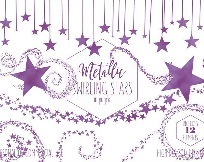PURPLE STAR CLIPART for Commercial Use Kids Clip Art Dark Purple Swirling Stars Frames Banner Celestial Sky Birthday Party Digital Graphics
