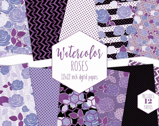 ULTRA VIOLET PURPLE Floral  Digital Paper Pack Commercial Use Watercolor Rose Backgrounds Black Stripe Scrapbook Papers Chic Flower Patterns