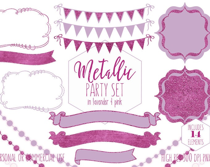 PURPLE & PINK PARTY Clipart for Commercial Use Clip Art Glitter Bunting Banner Frames Birthday Wedding Invitation Planner Digital Graphics