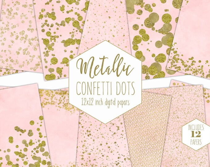 GOLD FOIL & BLUSH Pink Digital Paper Pack Confetti Backgrounds Metallic Scrapbook Paper Watercolor Patterns Party Printable Commercial Use