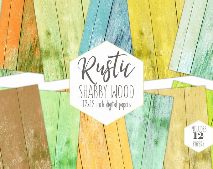 BEACH WOOD Digital Paper Pack Yellow Aqua Mint Orange Painted Wood Backgrounds Shabby Chic Plank Scrapbook Paper Wood Grain Textures Clipart