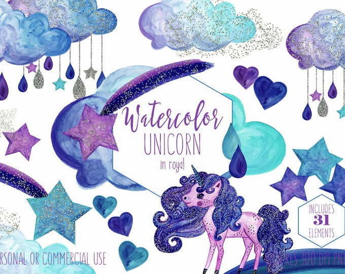 RAINBOW UNICORN Clipart Commercial Use Clip Art Gold Glitter Confetti Purple Royal Blue Aqua Watercolor Unicorn Rain Clouds Stars Graphics