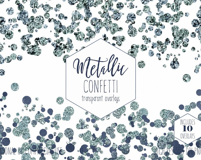 TEAL BLUE CONFETTI Overlays Clipart for Commercial Use Planner Clip Art Gem Borders Metallic Mint Wedding Party Invitation Digital Graphics