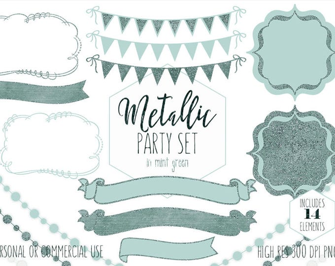 MINT GREEN PARTY Clipart for Commercial Use Planner Clip Art Sage Bunting banners Glowing Fairy Lights Christmas Invitation Digital graphics