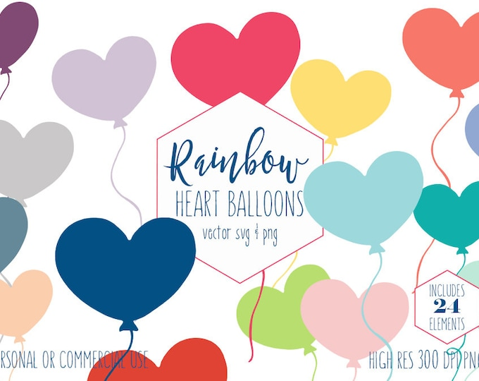 HEART BALLOON CLIPART for Commercial Use Planner Sticker Clip Art Fun Rainbow Birthday Party Balloon Digital Graphics for Kids Balloon Svg