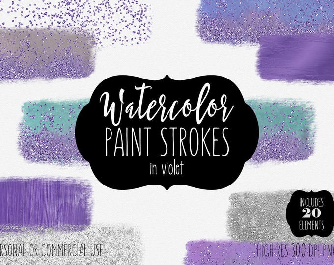 PURPLE WATERCOLOR PAINT Strokes Clipart Commercial Use Clip Art 20 Watercolor Brush Rectangles Silver Glitter Confetti Textures Logo Graphic