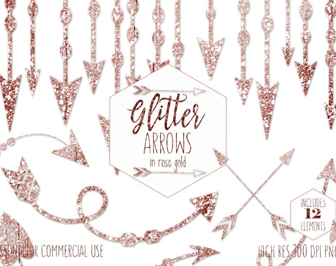 ROSE GOLD ARROW Clipart for Commercial Use Clip Art Metallic Glitter Tribal Images Bohemian Chic Wedding invitation Border Digital Graphics