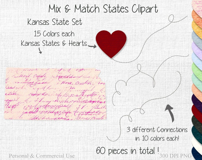 KANSAS STATE to STATE Clipart Commercial Use Clipart Mix & Match States Long Distance Wedding Clipart Kansas Map Valentine's Day Clipart