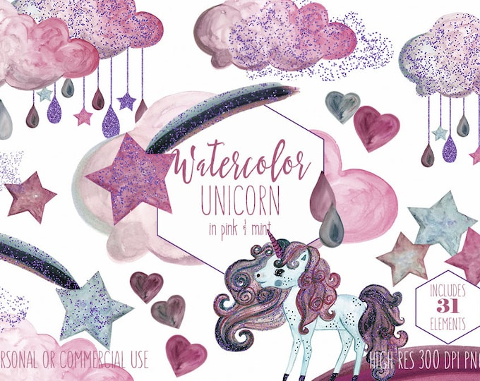 BLUSH PINK & MINT Unicorn Clipart Commercial Use Clip Art Purple Glitter Confetti Rainbow Watercolor Rain Clouds Hearts Stars Girly Graphics